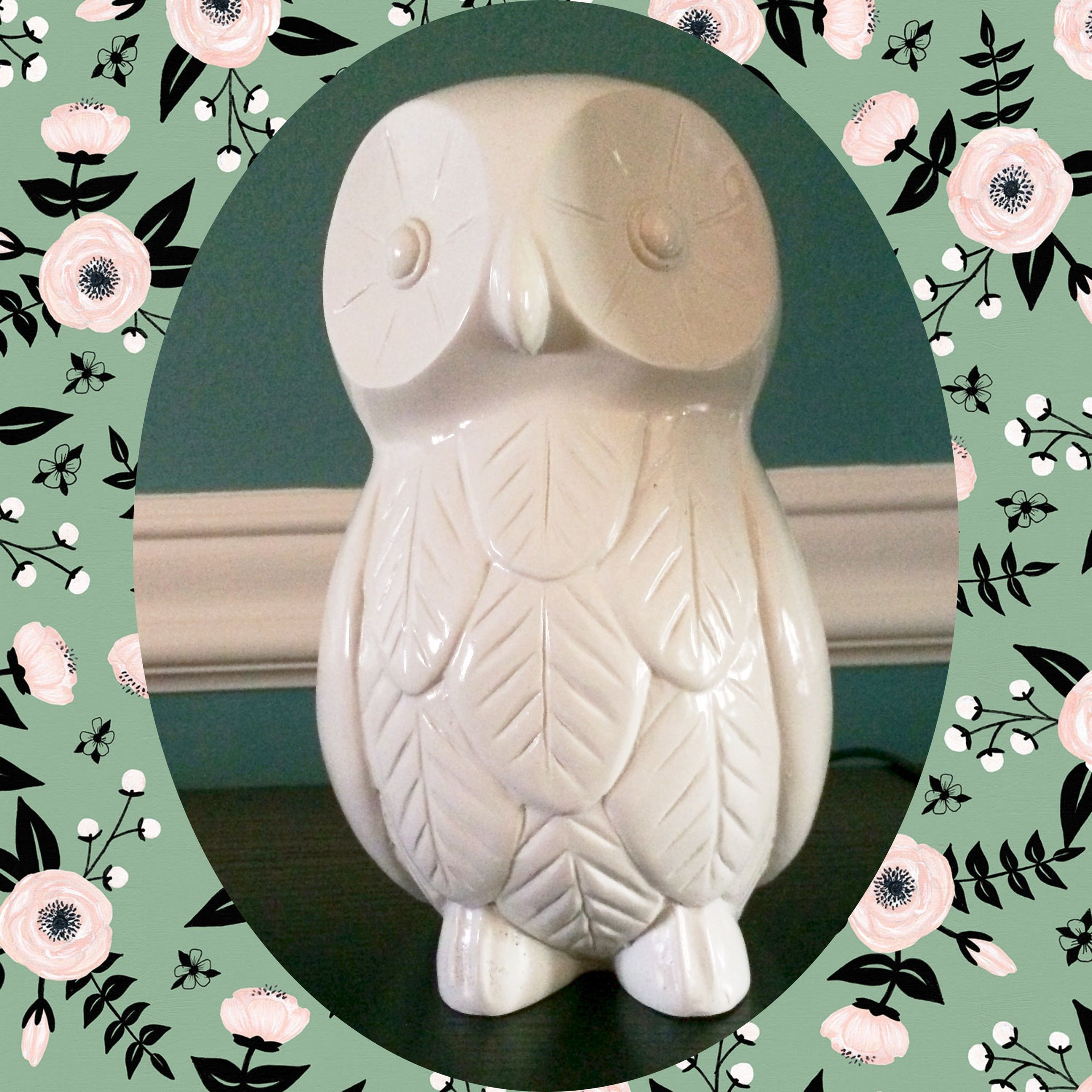 White owl statuette; one of many from my collection. I found this guy at Home Goods a few months ago! - #kitschoftheday - kitschoftheday.com
