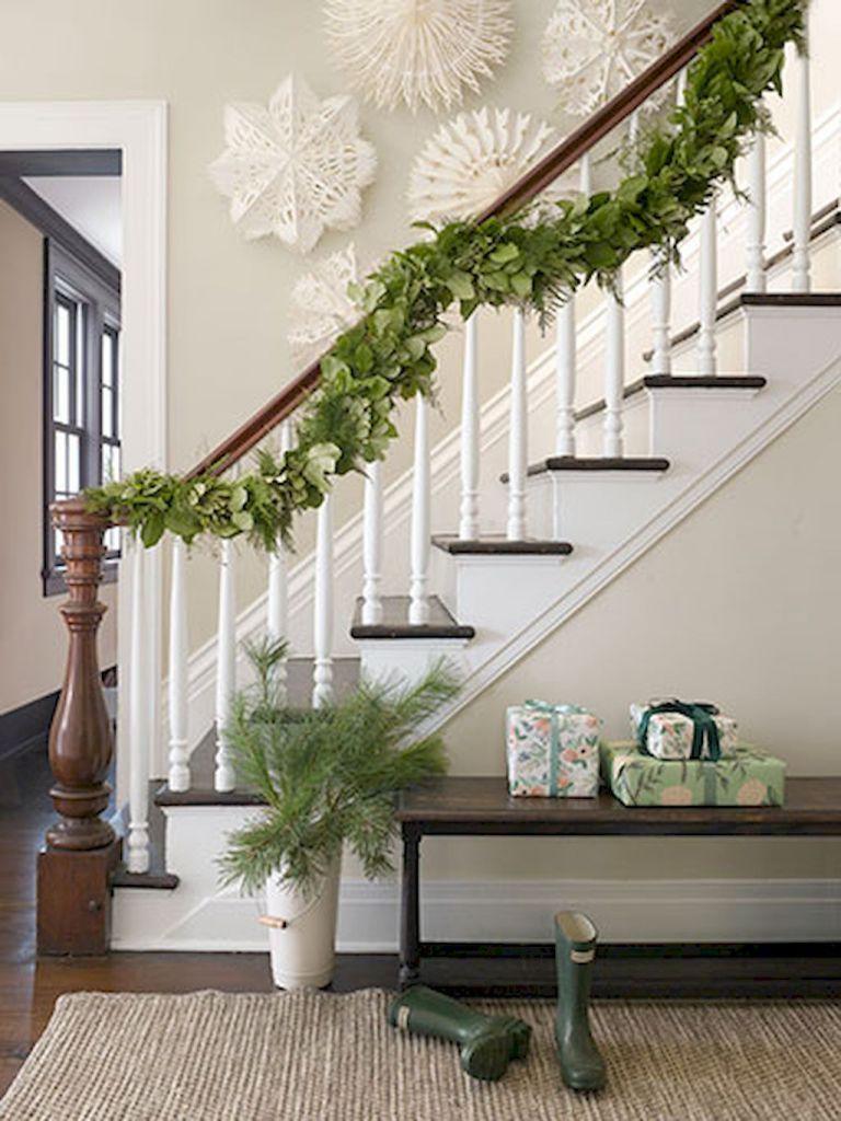 80 Modern Farmhouse Staircase Decor Ideas 57 Christmas Stairs Christmas Staircase Farmhouse Christmas