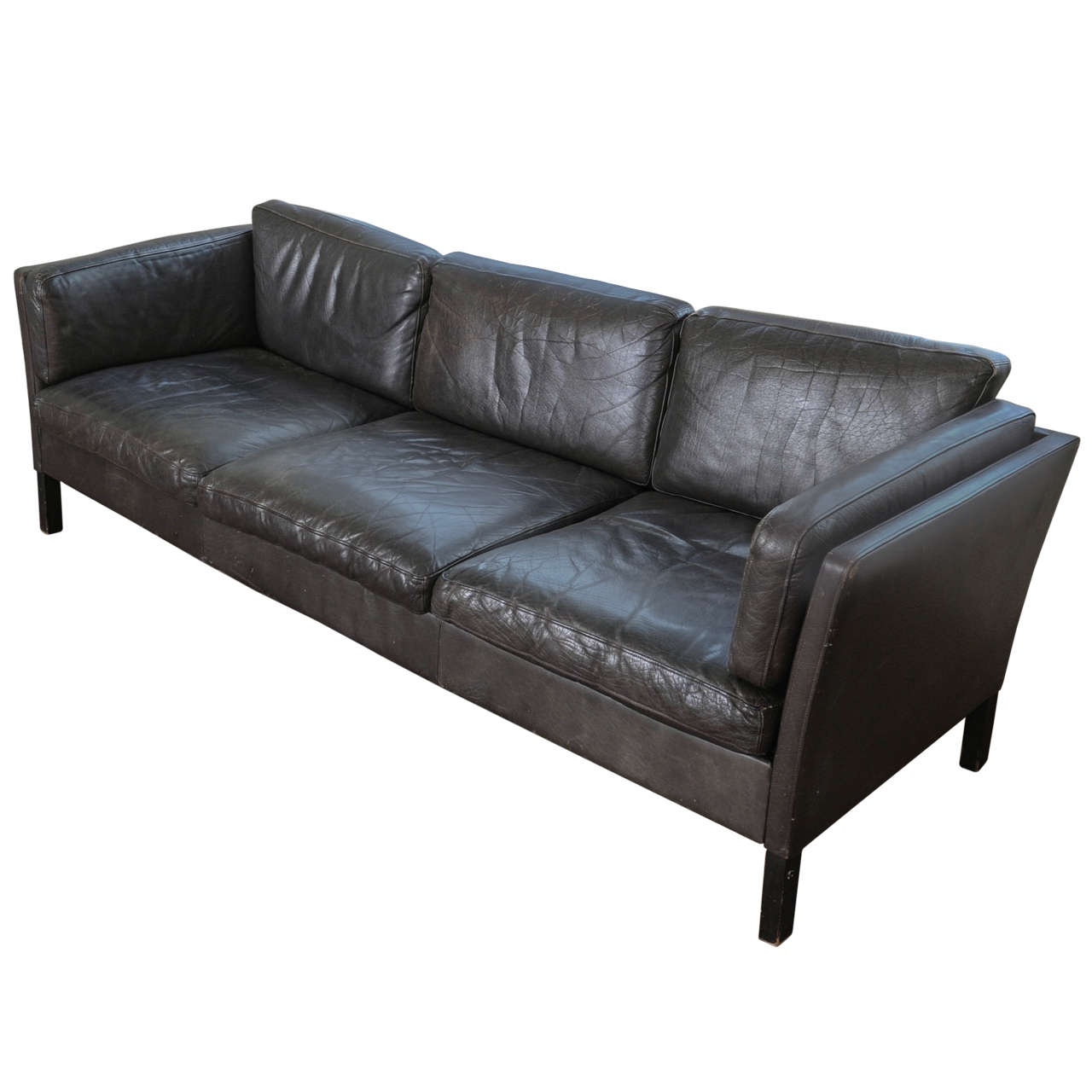 1960s Danish Three Seat Vintage Design Sofa With Black Leather Upholstered Vintage Sofa Modern Leather Sofa Vintage Leather Sofa