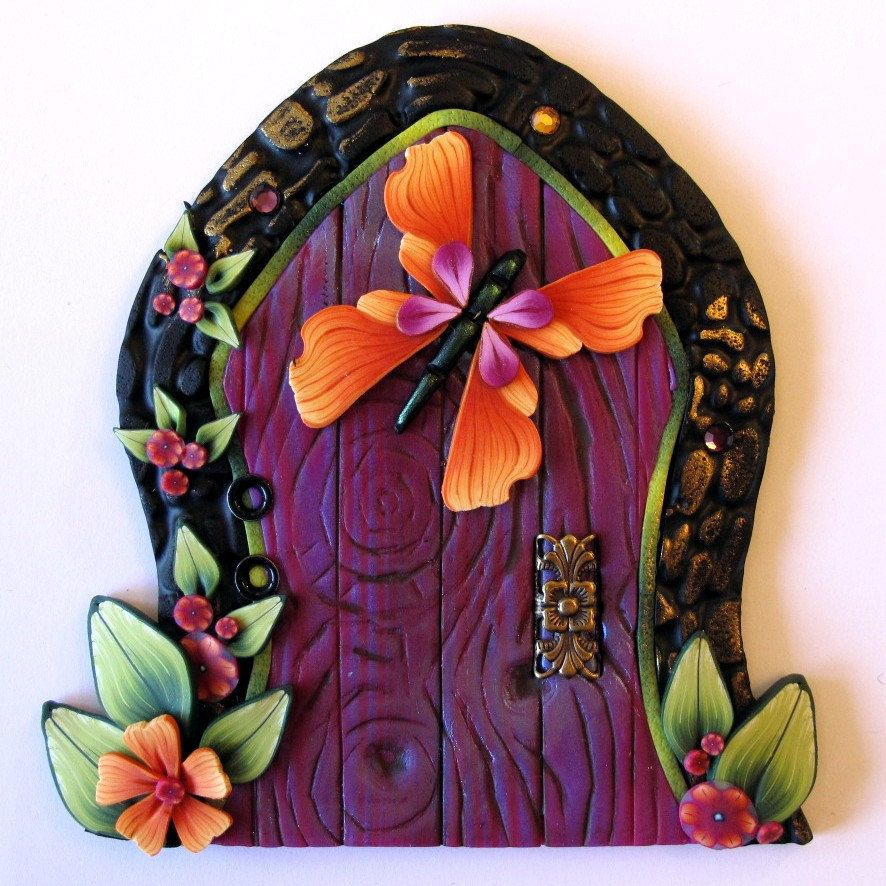 Orange Butterfly Fairy Door by Claybykim on Etsy