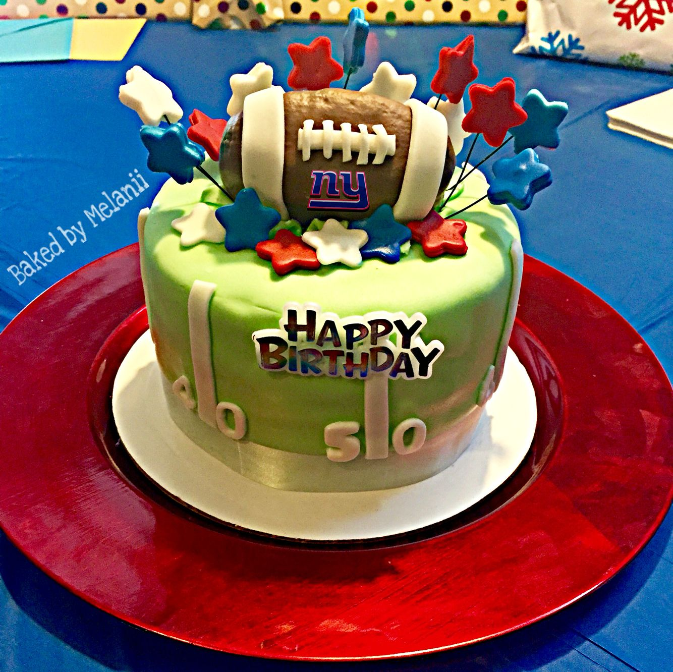 Excellent New York Giants Football Birthday Cake Nfl Cakes Giant Cake Funny Birthday Cards Online Alyptdamsfinfo