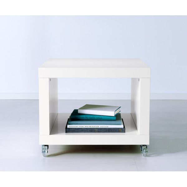 IKEA LACK Side Table On Casters, White (42 CAD) ❤ Liked On Polyvore