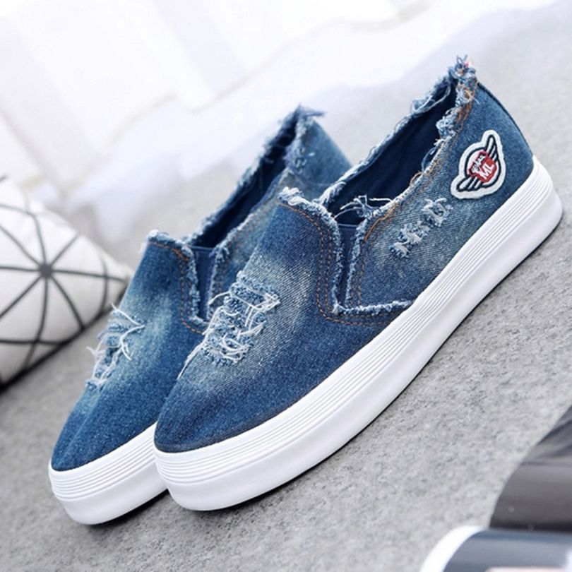 2016 New Summer Women Canvas Shoes High Quality Denim Female Flats Lady  Leisure Round Toe Shoes