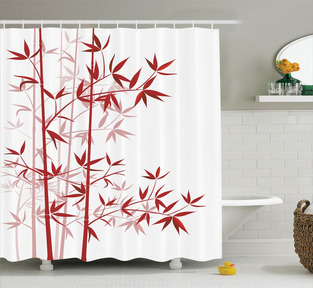 Bamboo Tree Print Asian Japanese Style Decor Clean Modern Shower Curtain Set