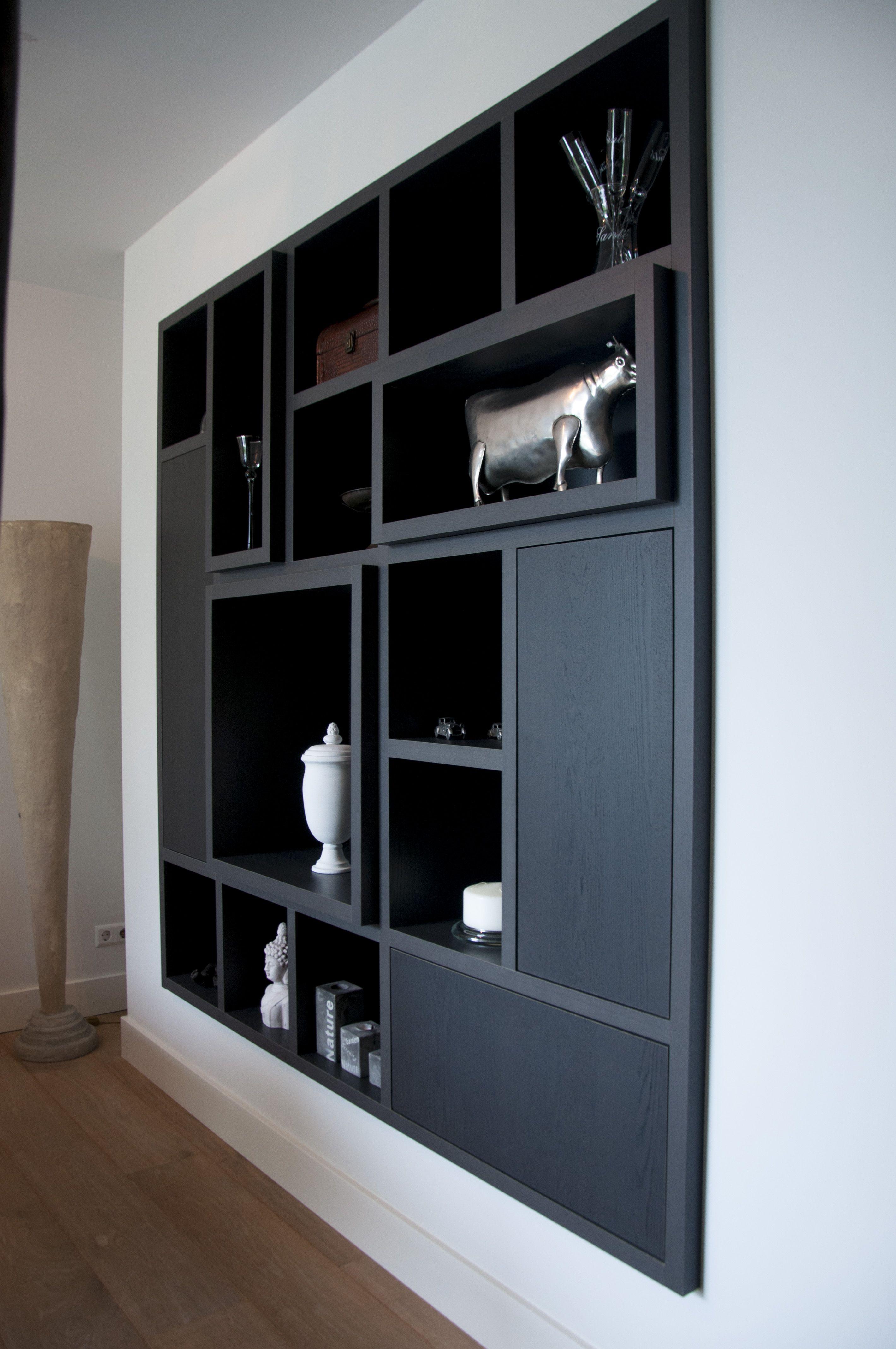 Op maat gemaakte woonkamerkast, zwart eiken. | Furniture | Pinterest ...