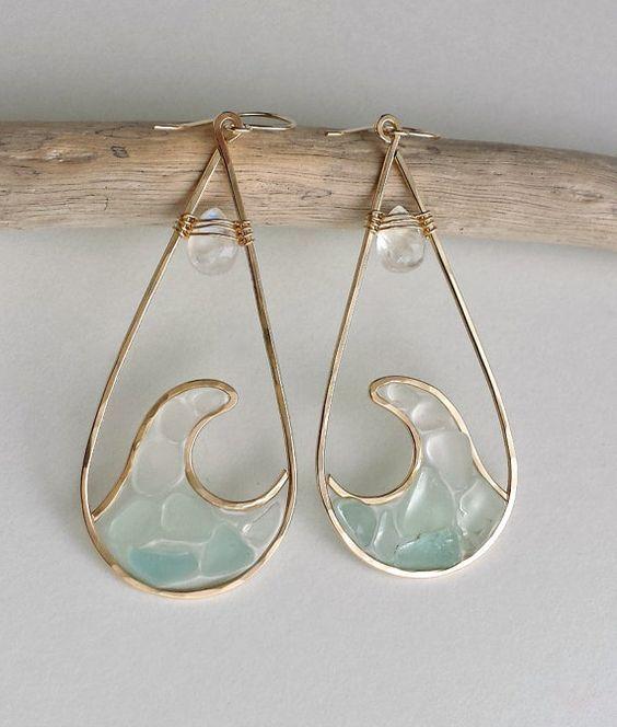 Photo of Wave Hoop Earrings, Sea Glass Hoops, Beach Glass Earrings, Resin Beach Hoop Earrings, Rainbow Moonstone Hoops