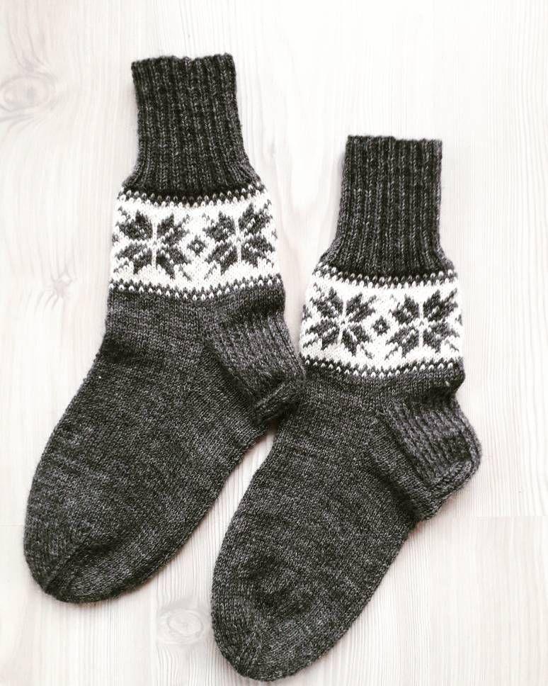 092dd894180dd Wool socks Mens socks Christmas gift Knit socks Man socks Handknitted socks  Gift for him Gray socks Snowflake Socks size 43EU