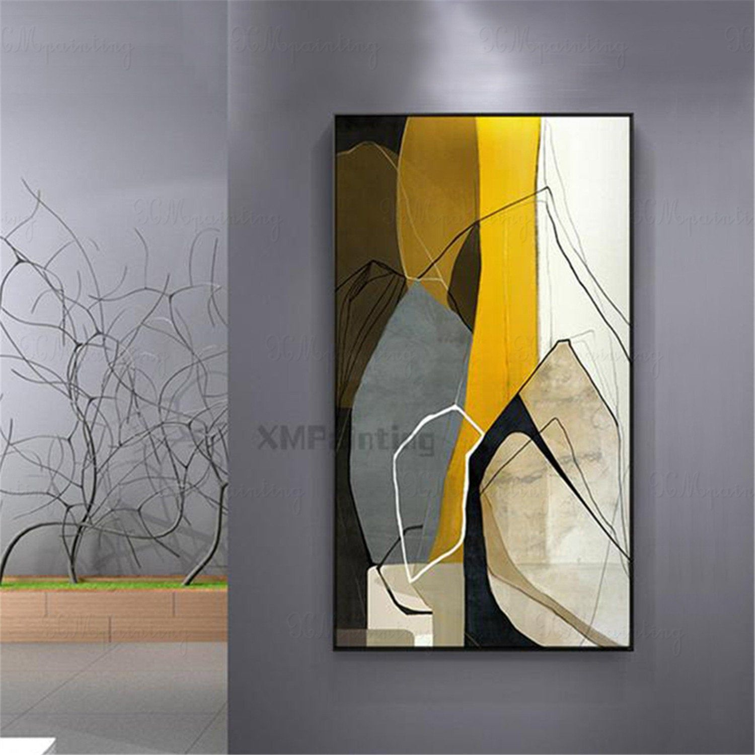Framed Abstract Painting Handmade Canvas Wall Art Pictures For Etsy Abstract Canvas Painting Abstract Art Painting Gold Art Painting