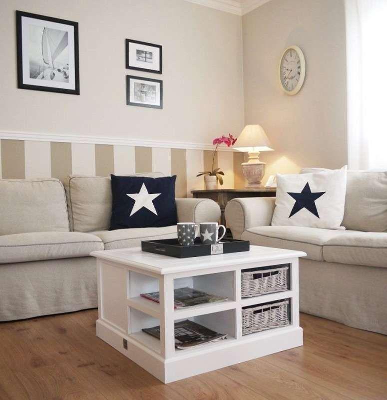 Traumhafter Couchtisch aus solidem Holz und Faserholz, deckend - landhausmöbel weiss wohnzimmer
