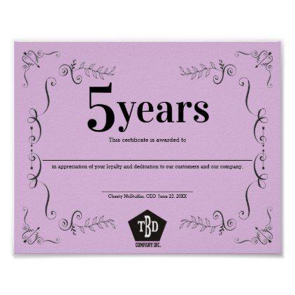 Decor universal employee anniversary certificate | templates cyo ...