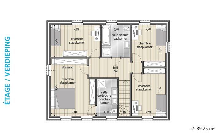 Blavier klassieke woning bl 406 plattegrond verdiep for Plattegrond woning
