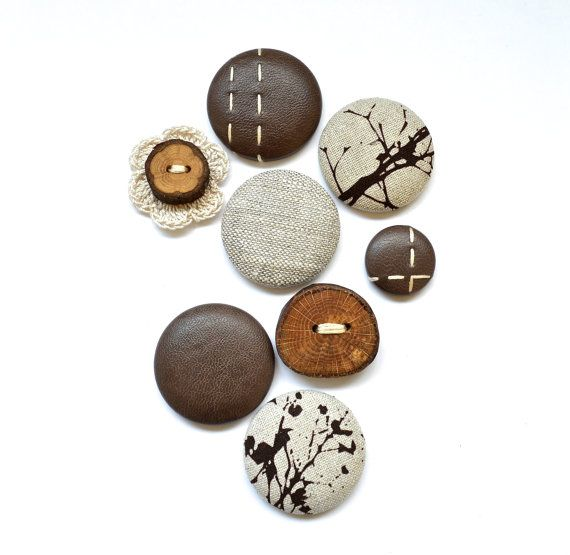 Magnets - Handmade. 8 Pack. Brown, Wood, Leather. www.thewiggletree.com