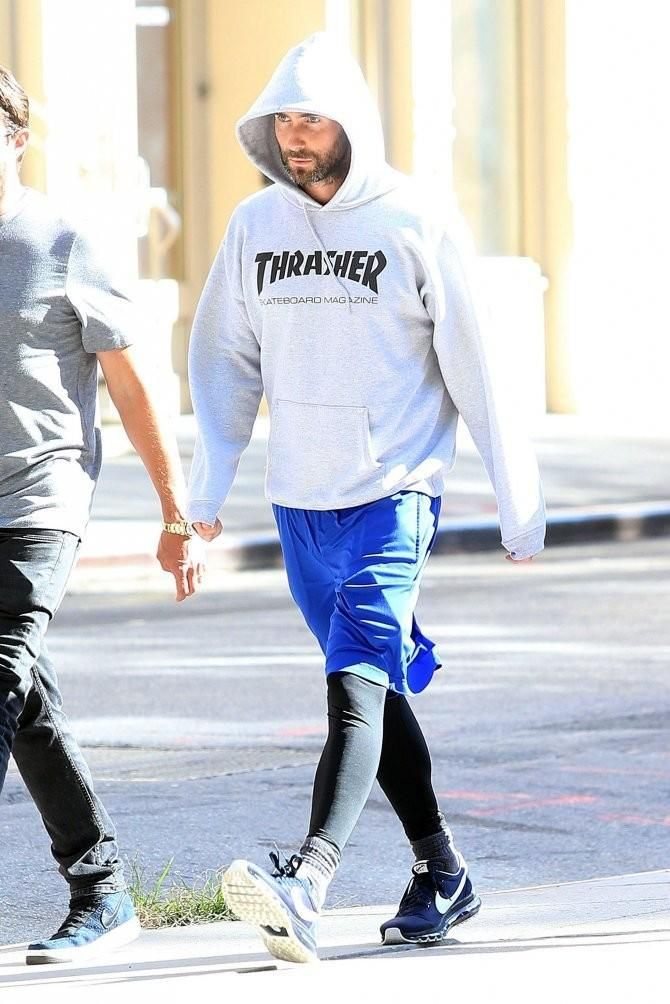 the best attitude 4c2d3 bc018 ... Adam Levine wearing Thrasher Skate Mag Hoodie in Black and Nike Air Max  Ld- Zero ...
