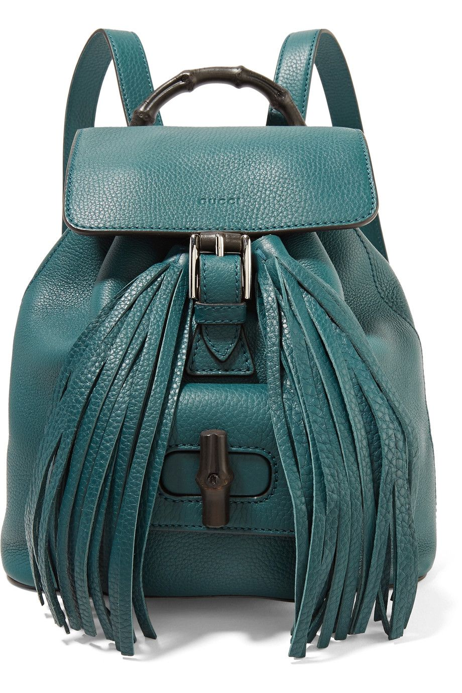 b6d86409245 GUCCI Bamboo-Trimmed Textured-Leather Backpack.  gucci  bags  leather   canvas  backpacks