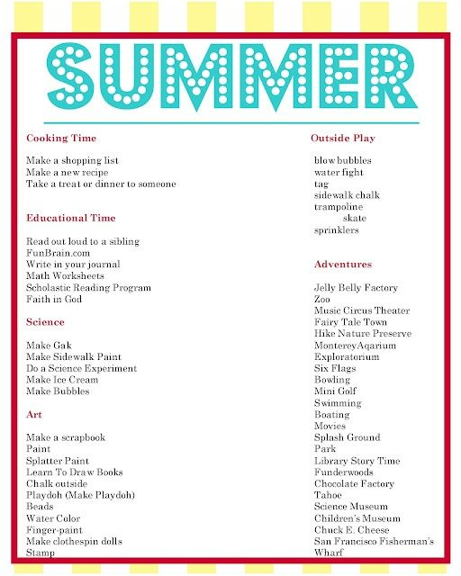 summer to do list and daily schedule samples for kids kids