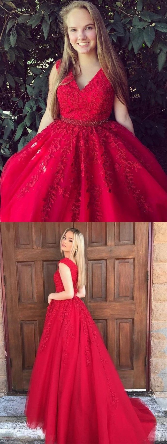 Unique dark red v neck prom dresses modest tulle beading long prom
