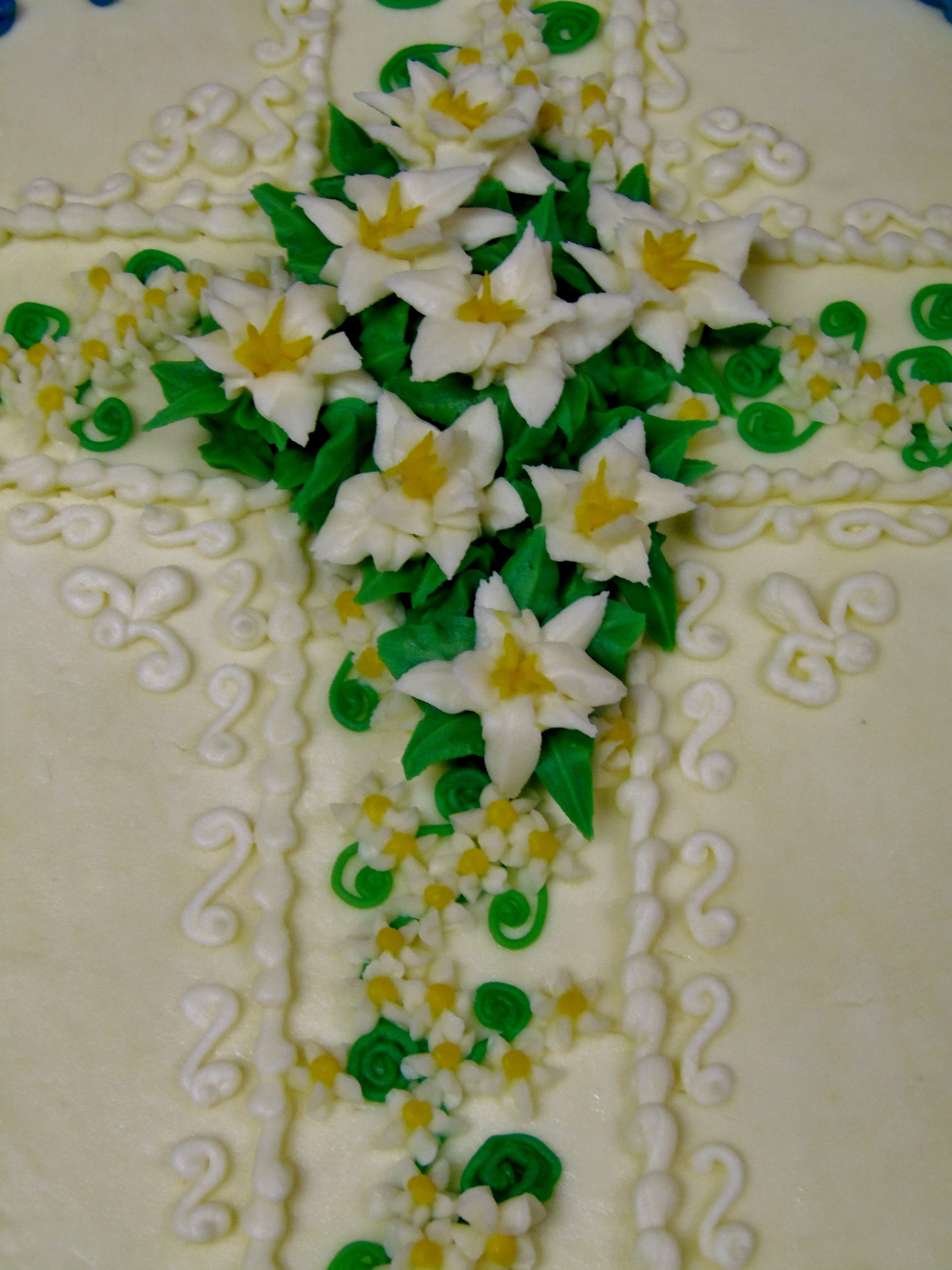 Easter Lily Cross Decor Close Up In All Buttercream Decor