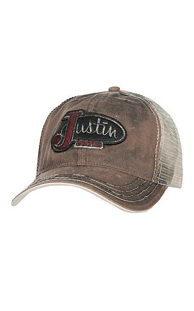 8495084e31e Justin Boots Brown Dirty Wash Logo Patch Cap