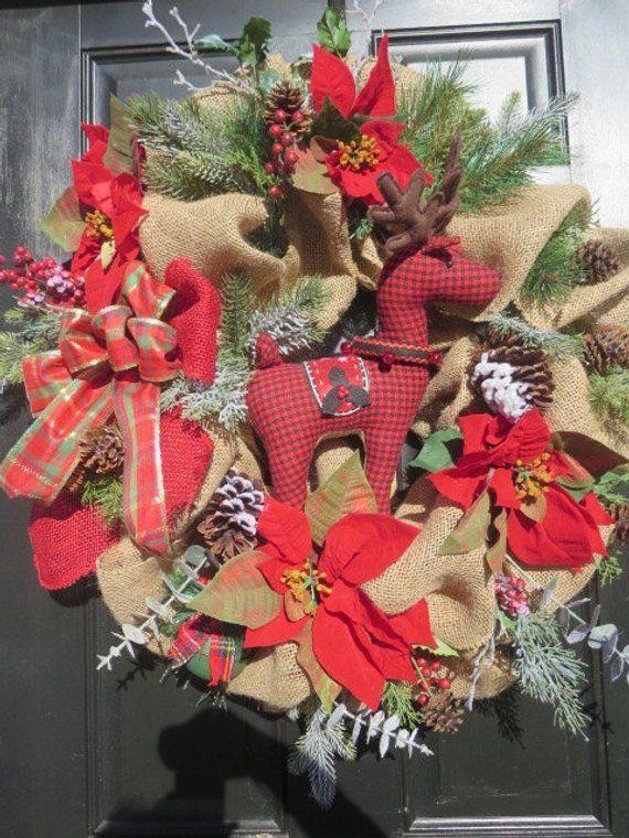 Christmas Wreath Burlap Wreaths Reindeer Door Rustic
