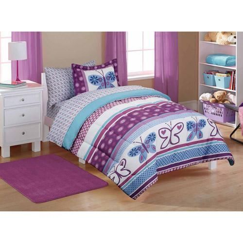 Mainstays Kids  Purple Butterfly Coordinated Bed in a Bag. TWIN GIRLS PURPLE BLUE BUTTERFLY STRIPE COMFORTER SHEETS BED IN