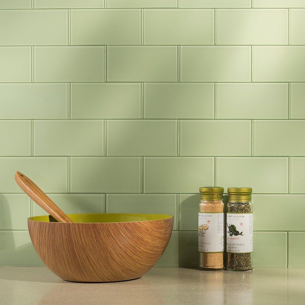 Aspect Peel And Stick Backsplash Kit Sage Glass Tile For Kitchen