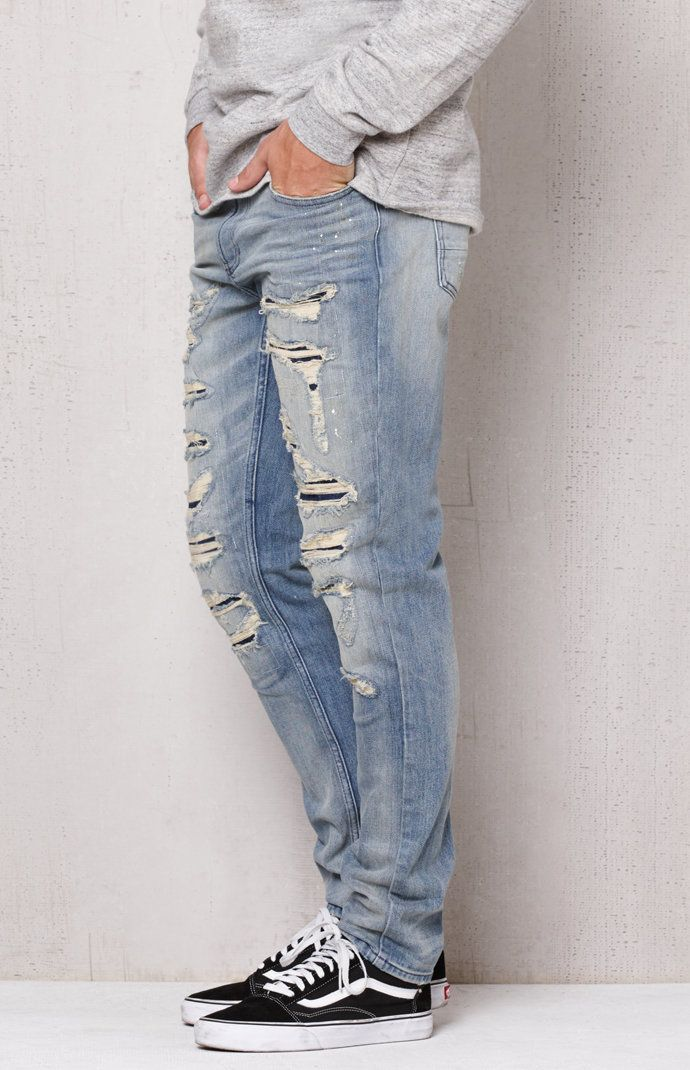 Stacked Skinny Ripped Light Wash Stretch Jeans Jeans