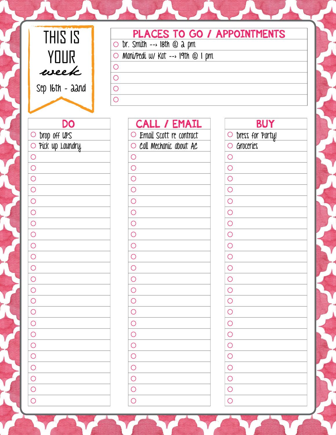 to do list printable weekly daily things to by chicdesignsbyjem