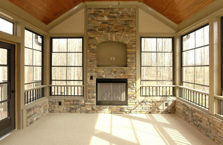 Three Season Room With Fireplace House With Porch House