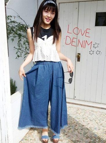 裾フリンジのデニム生地ワイドパンツ♡ ◇高校生ファッション スタイルのコーデ アイデア◇