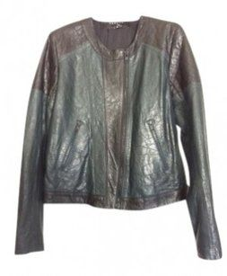 Theory Black & Peacock-Green Leather Jacket