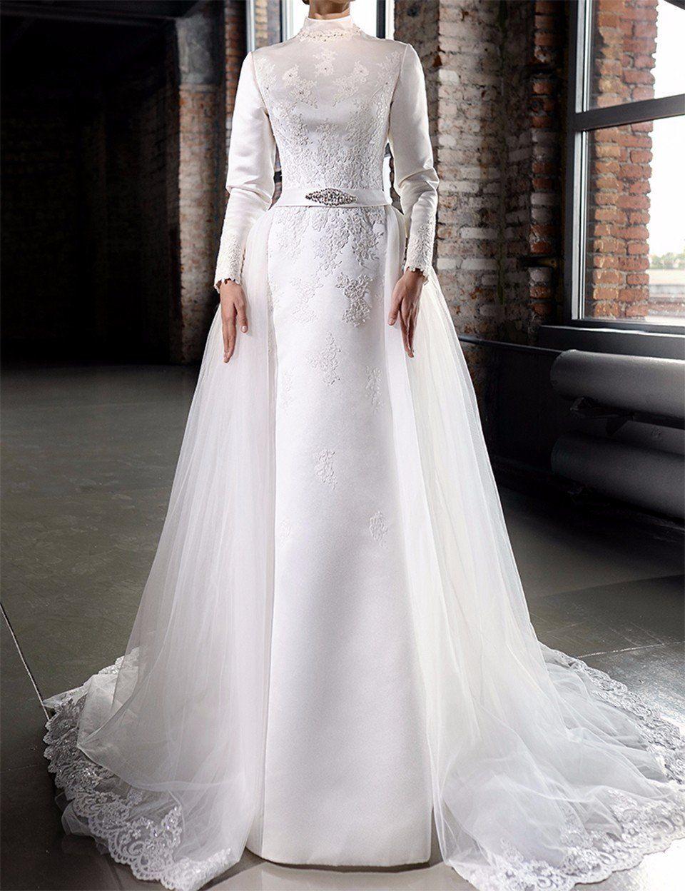 Vintage Satin Hijab Muslim Wedding Dresses Luxury Beaded Lace High Neck Detachable Train Long Sleeve Muslim Wedding Dresses Bridal Ball Gown Wedding Dresses [ 1248 x 960 Pixel ]