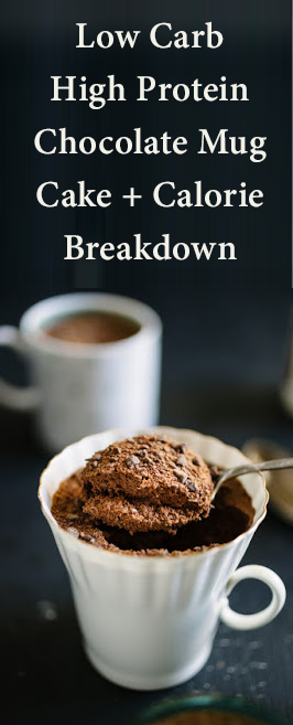 Low Carb High Protein Chocolate Mug Cake + Calorie Breakdown #proteinmugcakes
