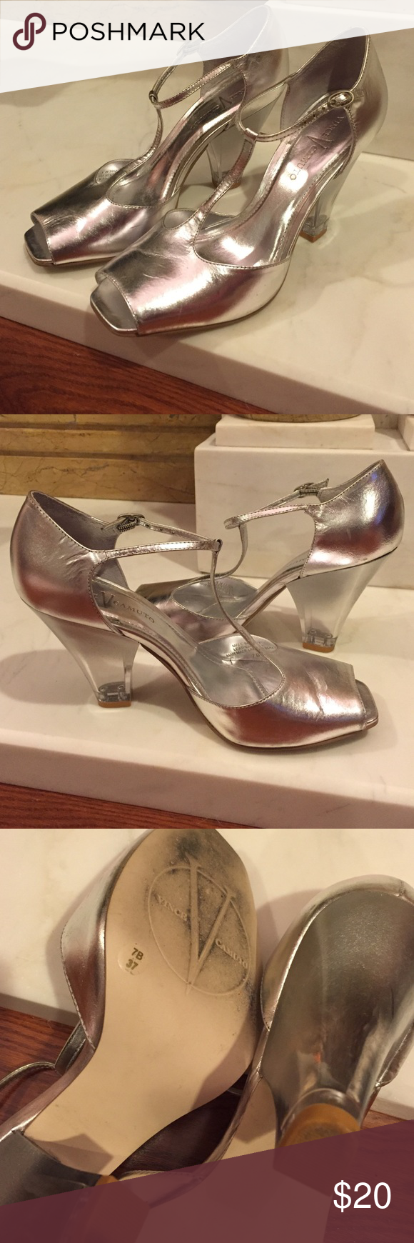 Vince Camuto Silver Lucite Heels | D Shoes heels and Silver