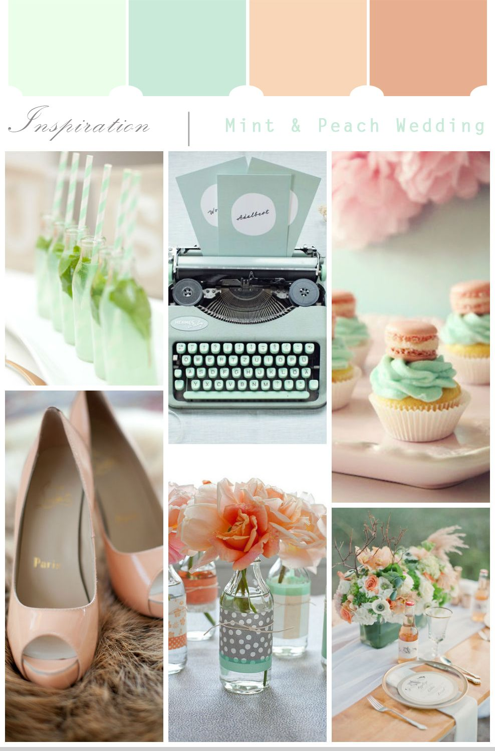 Wedding decoration ideas peach  Peach u Mint Wedding Inspiration  Weddings  Pinterest