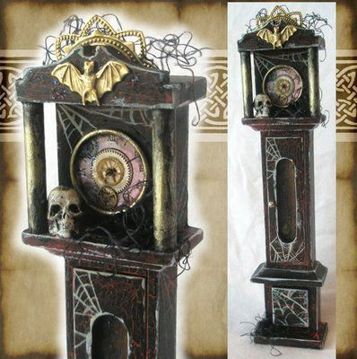 I want to do a creepy dollhouse.  I had an amazing, yet not creepy, one growing up. But this just looks like so much fun!  So here's stuff for it, starting with this cool clock. #haunteddollhouse