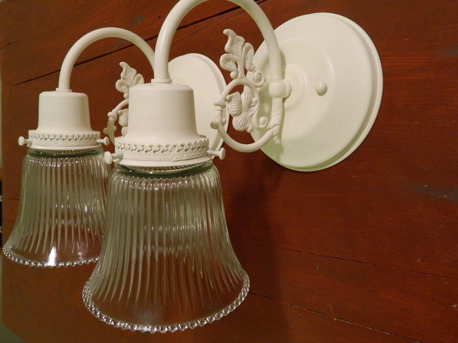 Upcycled Pair Of Cream Shabby Chic Ornate Wall Sconces Bathroom Light Vanity Lights Electric Wall Sconces Wall Sconce Light Bathroom Sconce Lighting Wall Sconce Lighting Bathroom Wall Sconces