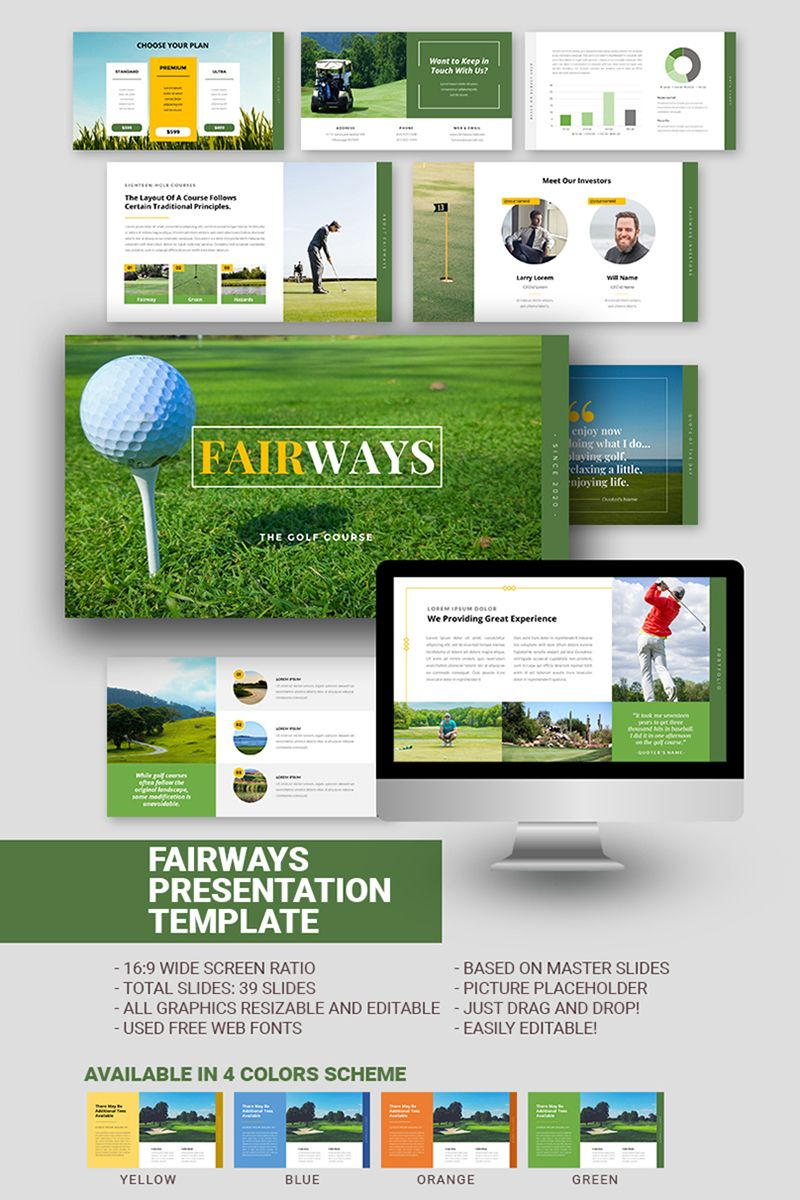4 in 1 Colored Fairways Golf Business Google Slides 97797