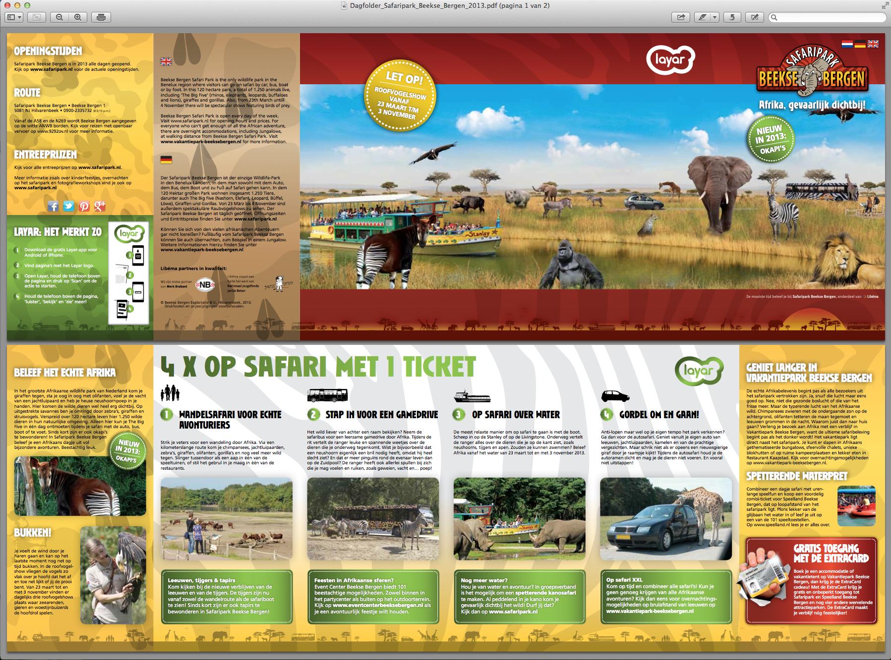 Augmented Reality verwerkt in de dagfolder van het Safaripark Beekse Bergen. Scan de afbeelding met Layar en ontdek Afrika.