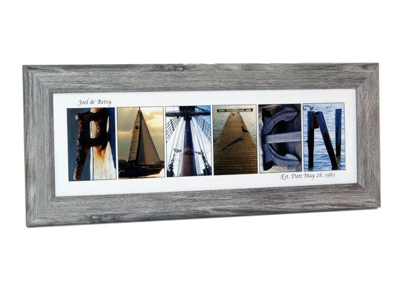 Framed Beach Nautical Wedding Sign  Last Name Picture Frame