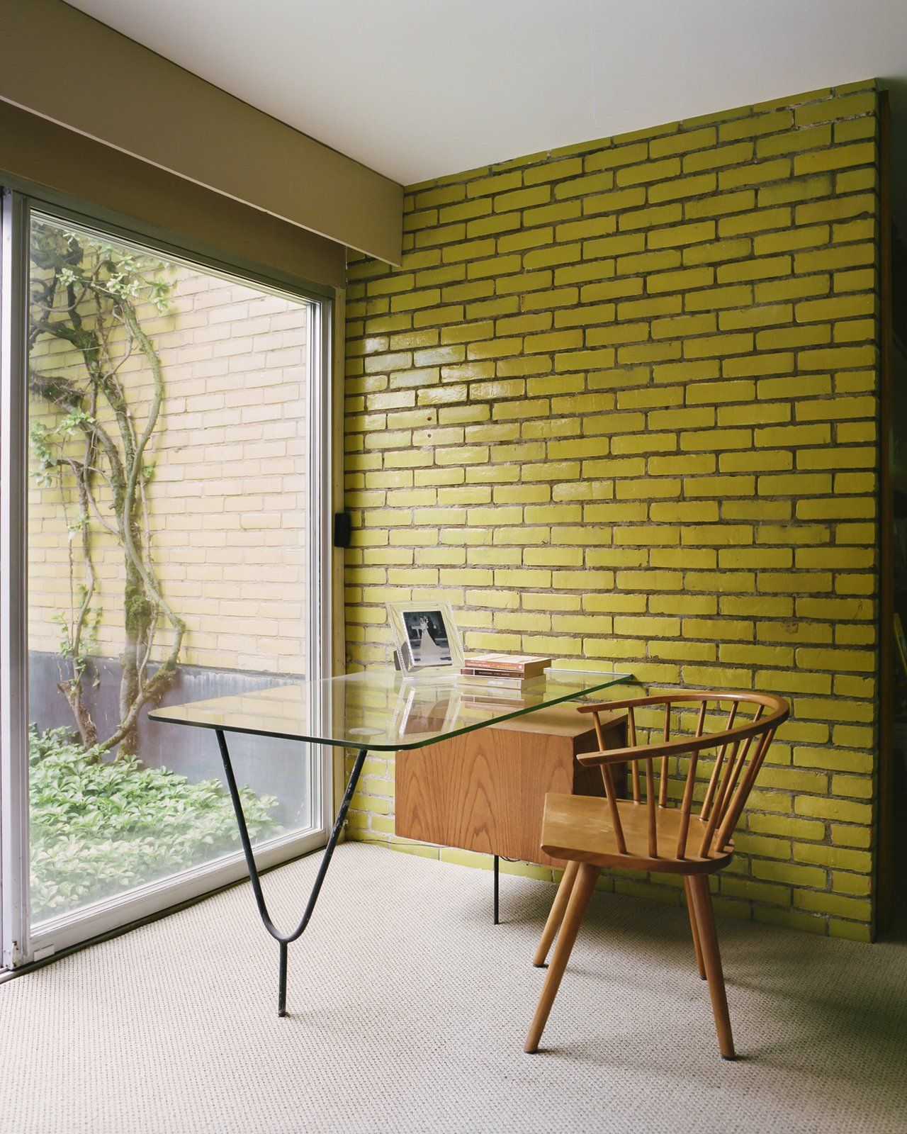 Office chair study room type desk and carpet floor photo 17 of 19 in this michigan couple found out they own the last standing home by alexander girard