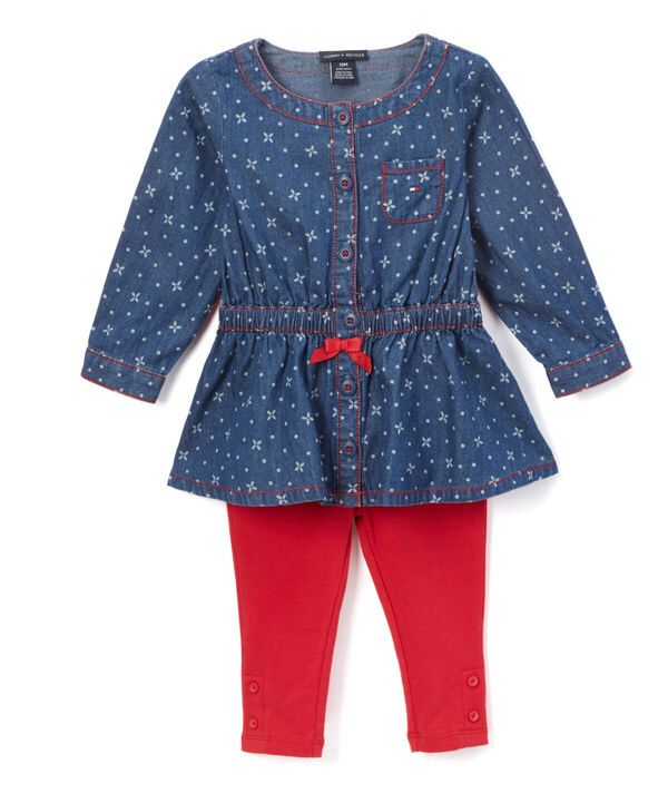 Look at this Blue & Red Dot Bow-Accent Tunic & Leggings - Infant & Kids on #zulily today!