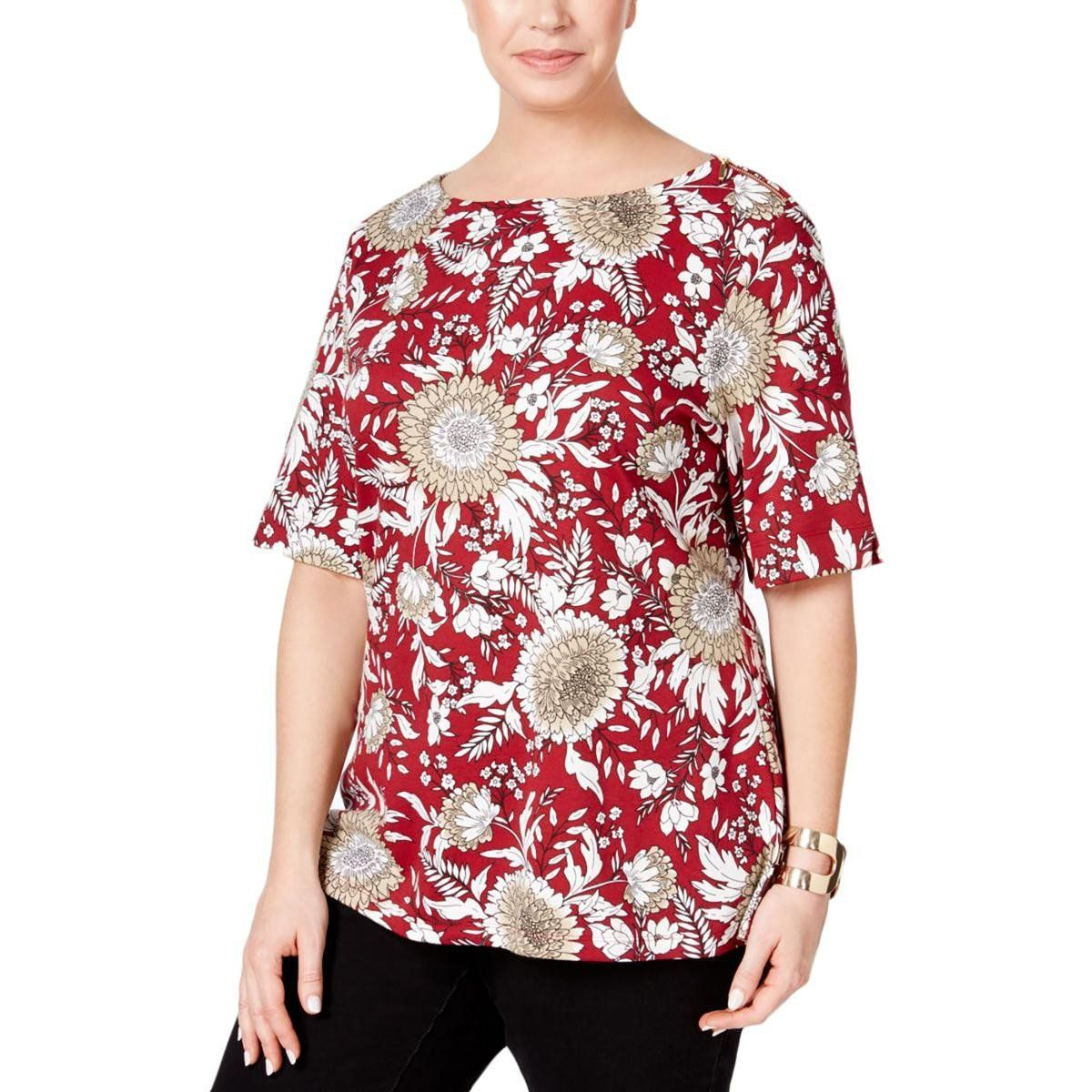 Karen Scott Womens Plus Printed Zip-Shoulder Casual Top