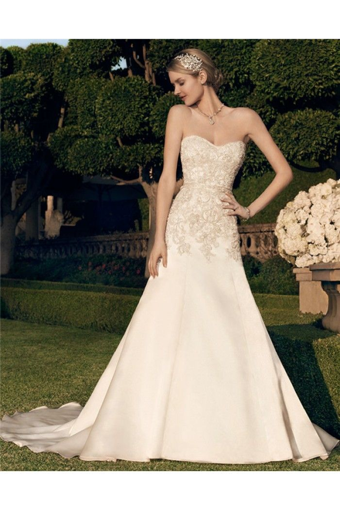 Fitted A Line Strapless Sweetheart Neckline Low Back Embroidered ...