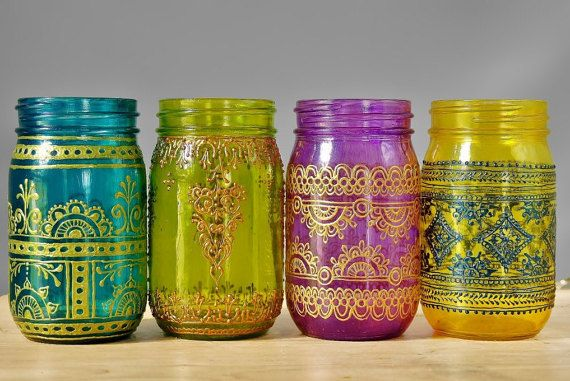 Set Of 4 Moroccan Style Mason Jar Lanterns Brilliant Spring Colored