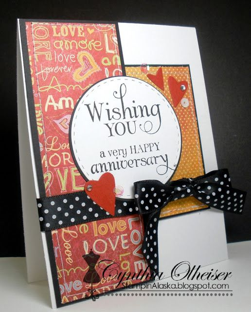 Handmade anniversary card by Cynthia O using the Wishing You stamp set from Verve. #vervestamps