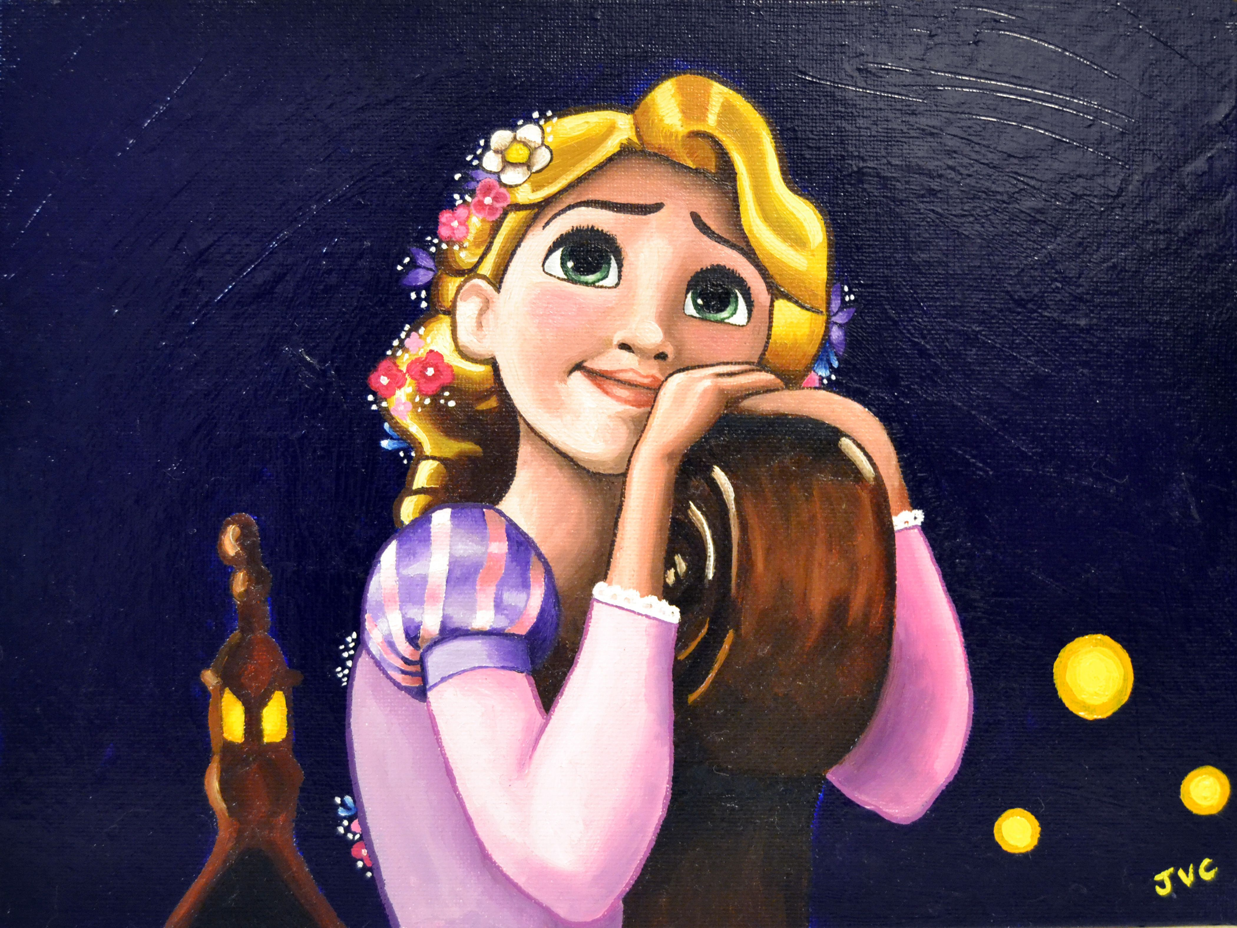 tangled painting oil on canvas rapunzel disney