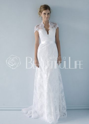 Noble Low Cut V Neck Satin Hollow Back A Line Wedding Dress With Lace