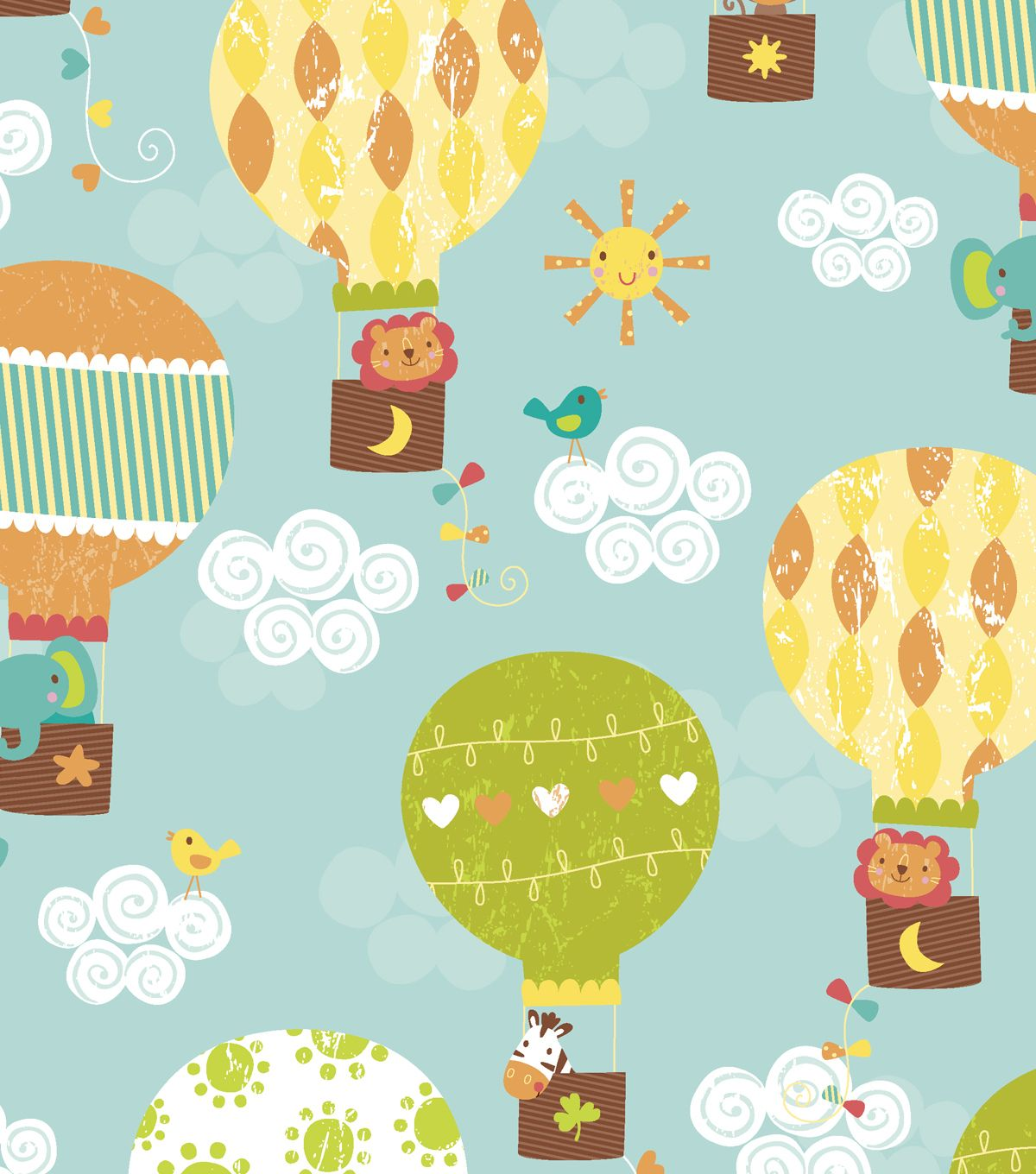 Adorable Balloons Animals Print Fabric For The Nursery