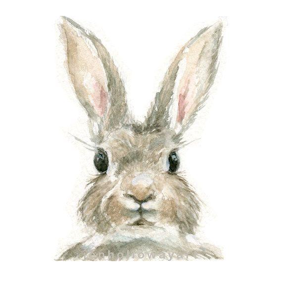 Aquarell Kaninchen, Kaninchen Druck, Hase Druck, Tier Druck, Kaninchen, Jackrabbit