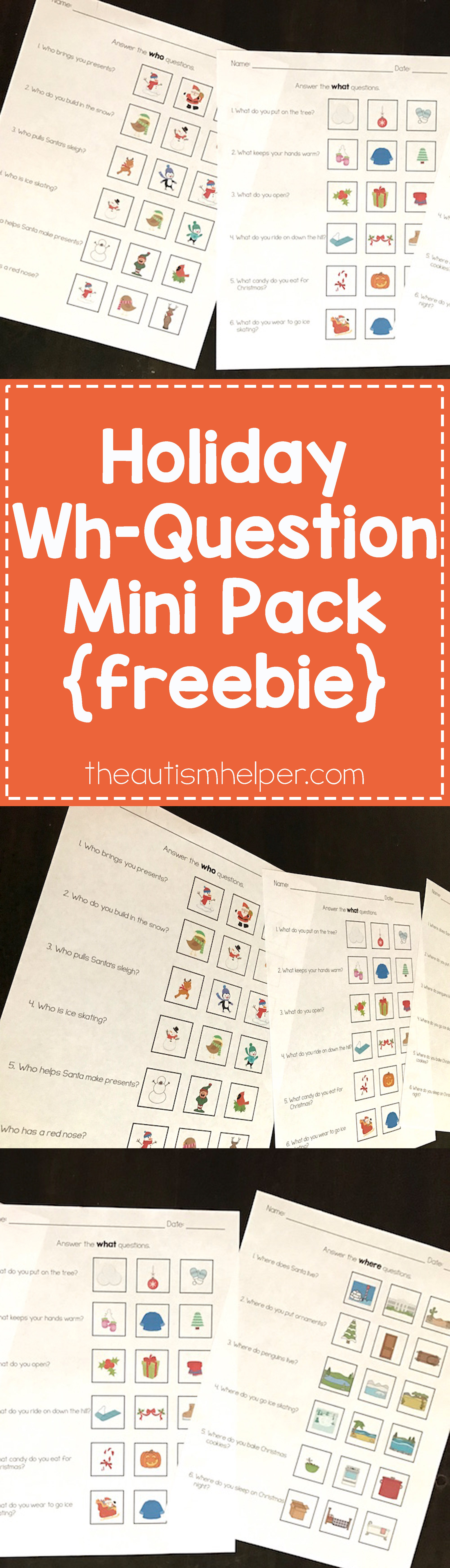 Holiday Wh Question Mini Pack Freebie